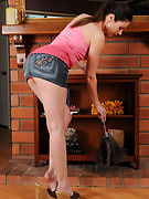 Sports Samantha Ryan strips off the lady denim skirt and spreads for your