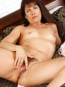 Brunette Andie after 30 plus Ladies spreads her wet hairy pussy wide