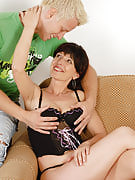 Sensuous brunette Juliette gets her adult crotch filled alongside younger tool