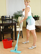Hot blonde MILF can housework and additionally fucks her broom