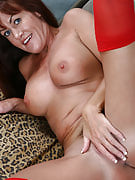 Tight mature and additionally bodied Shauna shows off her red lingerie