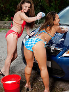 A couple of hot MILF taking a break after cleansing the vehicle