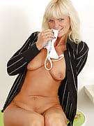 Watch 43 spring old Jenny F stuff the lady bright processed panties into the lady vagina