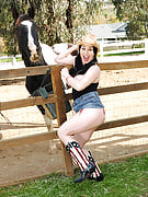 Horny brunette RayVaness after 30 plus Ladies getting up on the farm