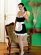 Brunette MILF in a maids ensemble dusts away this girl swollen vagina