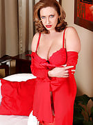 Busty blonde MILF Salinas in bright red lingerie looking hot since evver