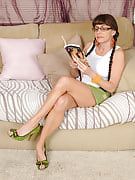 Horny 47 spring old Alexandra Silk gets off as soon as reading a dirty book